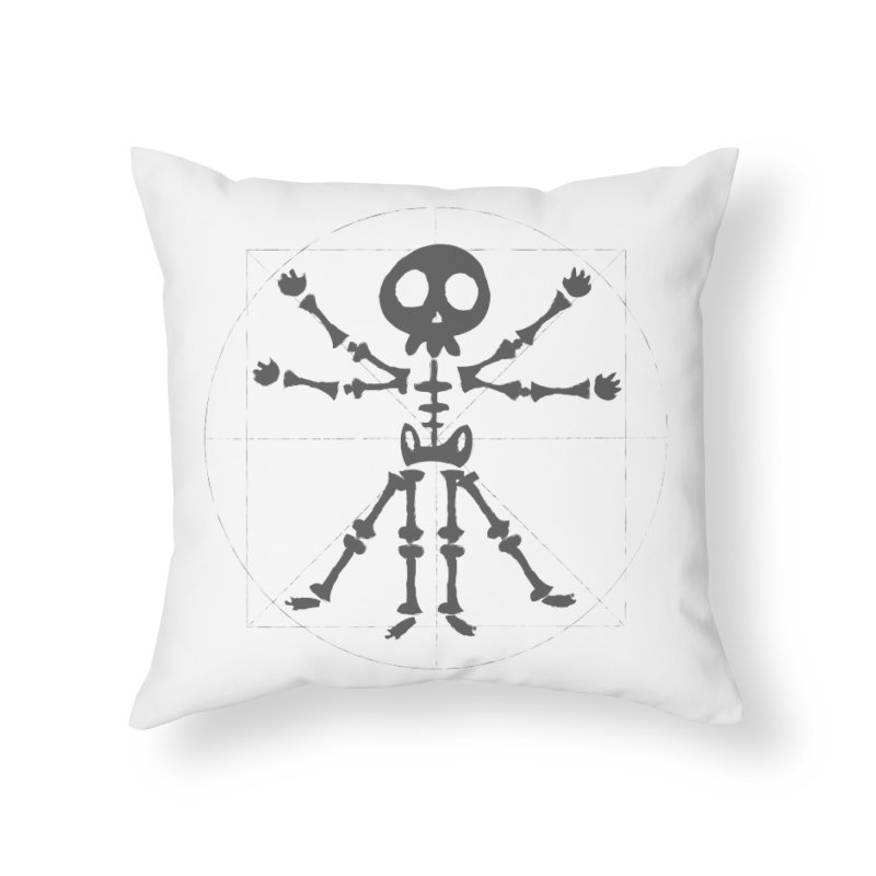 skeleton vitruvian negative Home Throw Pillow by manuvila