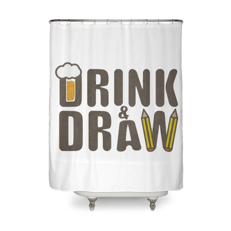 drink & draw Home Shower Curtain by manuvila