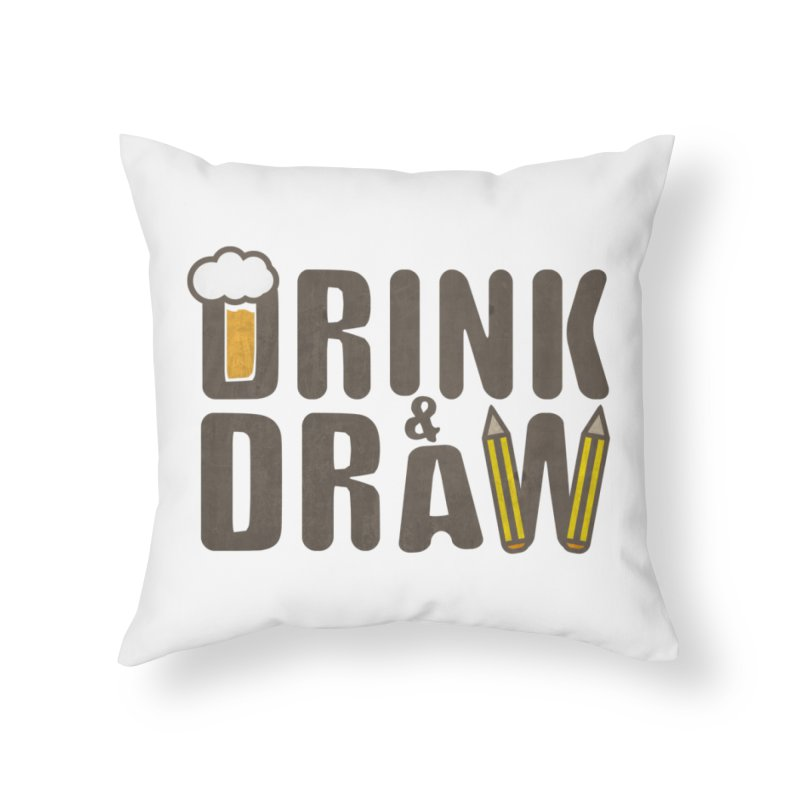 drink & draw Home Throw Pillow by manuvila