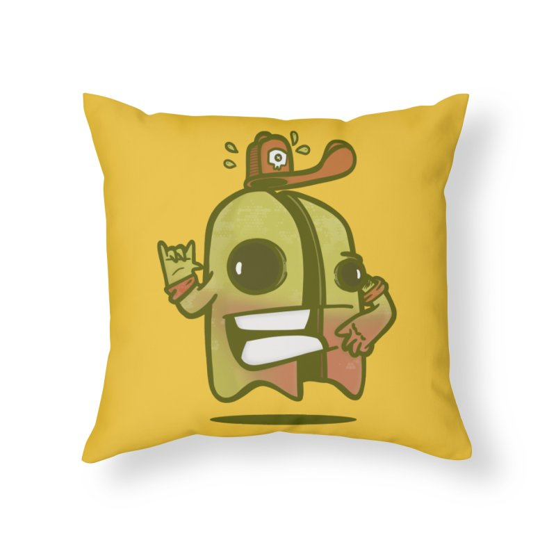 yellow ghost cut in half Home Throw Pillow by manuvila