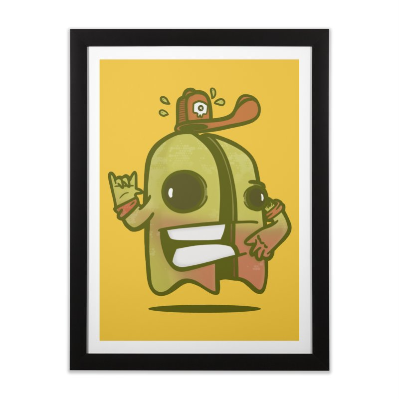 yellow ghost cut in half Home Framed Fine Art Print by manuvila