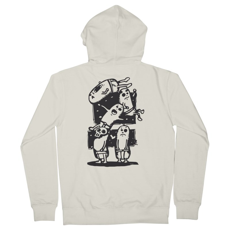 black & white Men's French Terry Zip-Up Hoody by manuvila