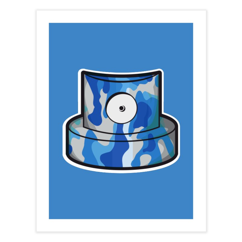 blue camouflage cap Home Fine Art Print by manuvila