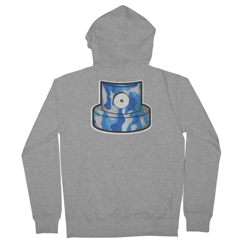 blue camouflage cap Women's French Terry Zip-Up Hoody by manuvila