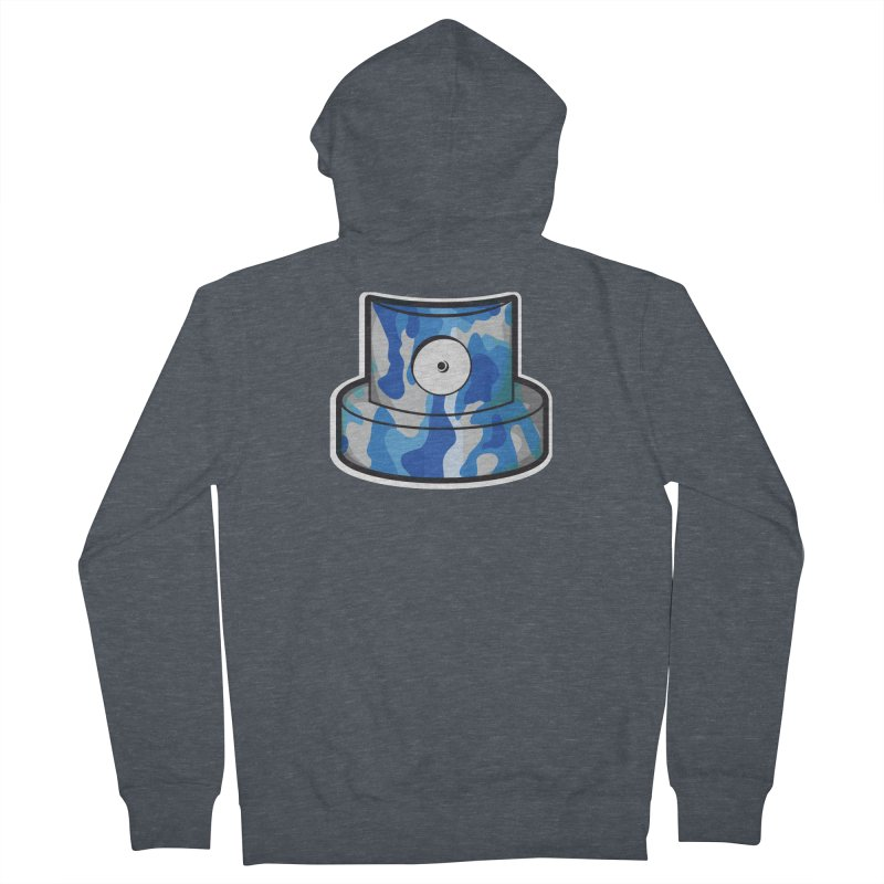 blue camouflage cap Men's French Terry Zip-Up Hoody by manuvila