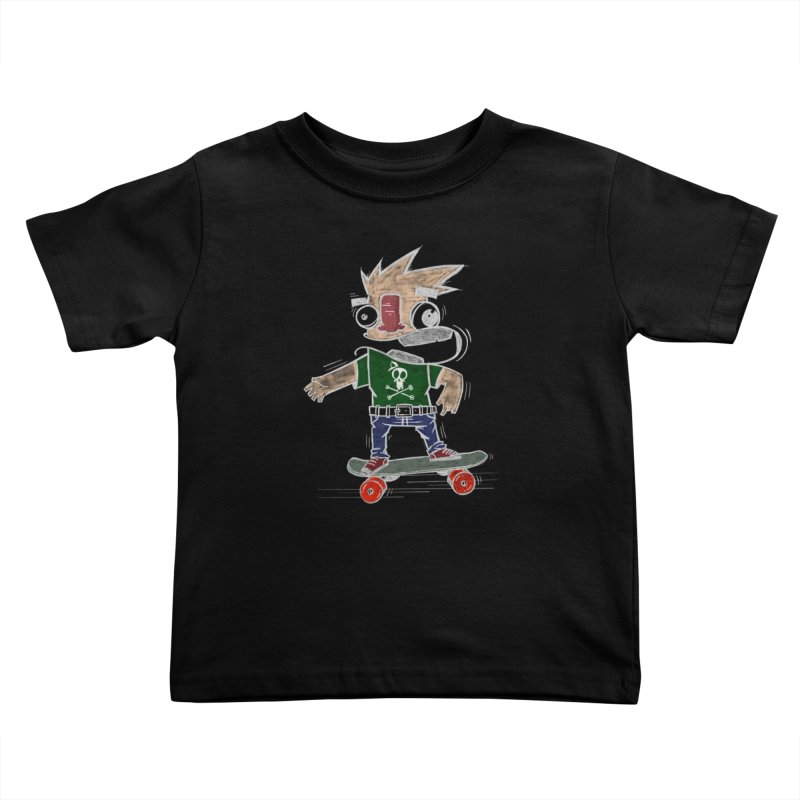 Skateman Kids Toddler T-Shirt by manuvila