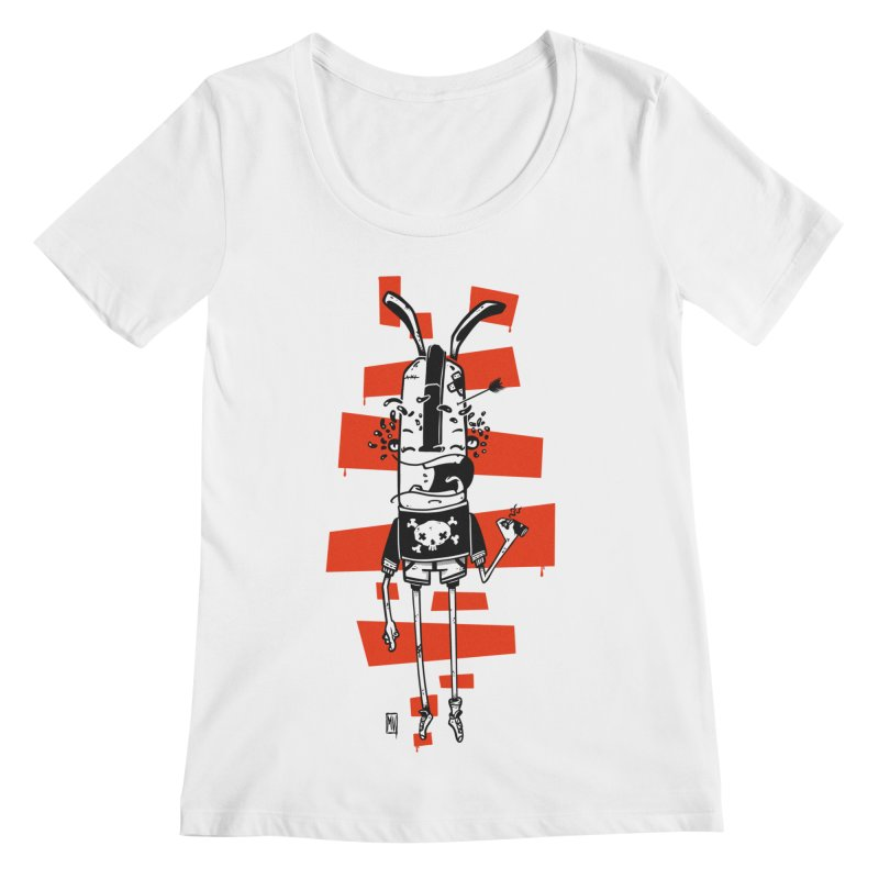 Graffiti rabbit Women's Regular Scoop Neck by manuvila