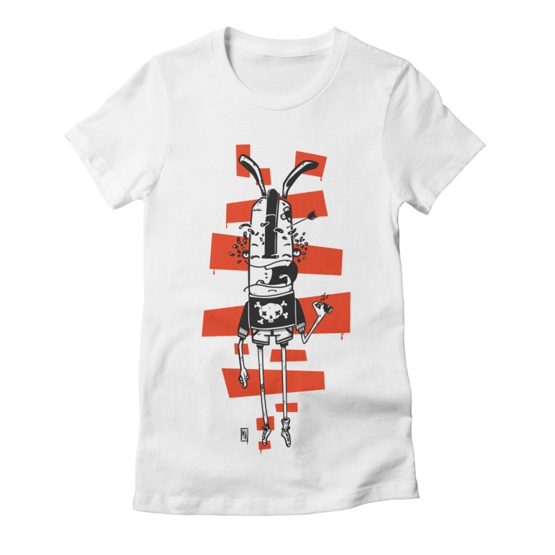 Graffiti rabbit Women's Fitted T-Shirt by manuvila