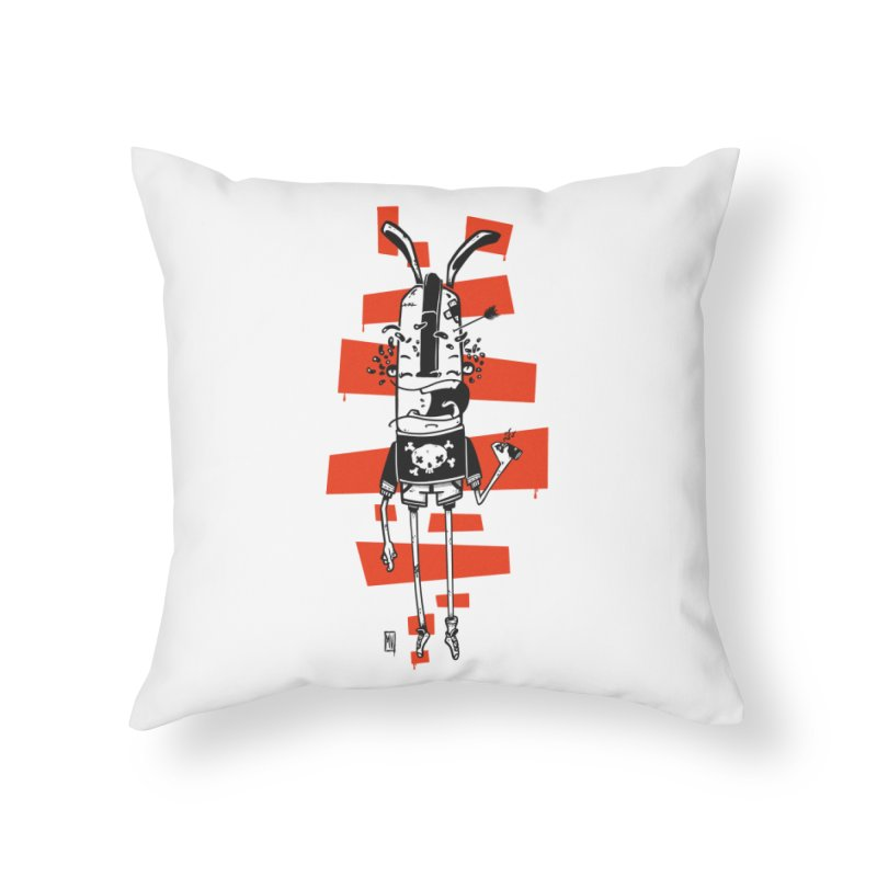 Graffiti rabbit Home Throw Pillow by manuvila