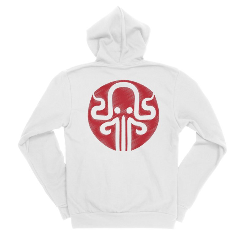red kraken Men's Zip-Up Hoody by manuvila