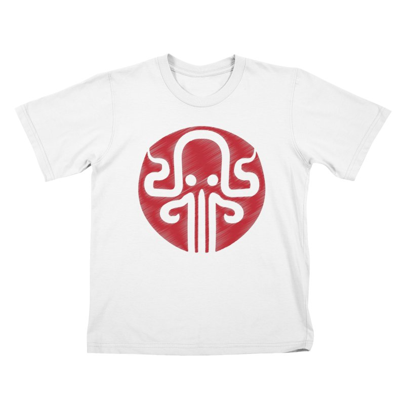 red kraken Kids T-Shirt by manuvila