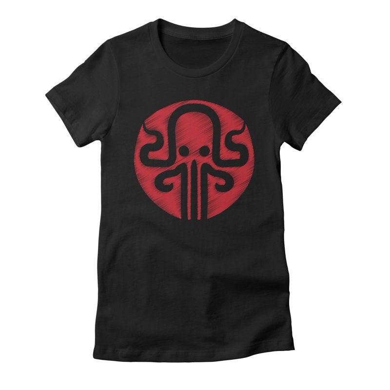 red kraken Women's Fitted T-Shirt by manuvila