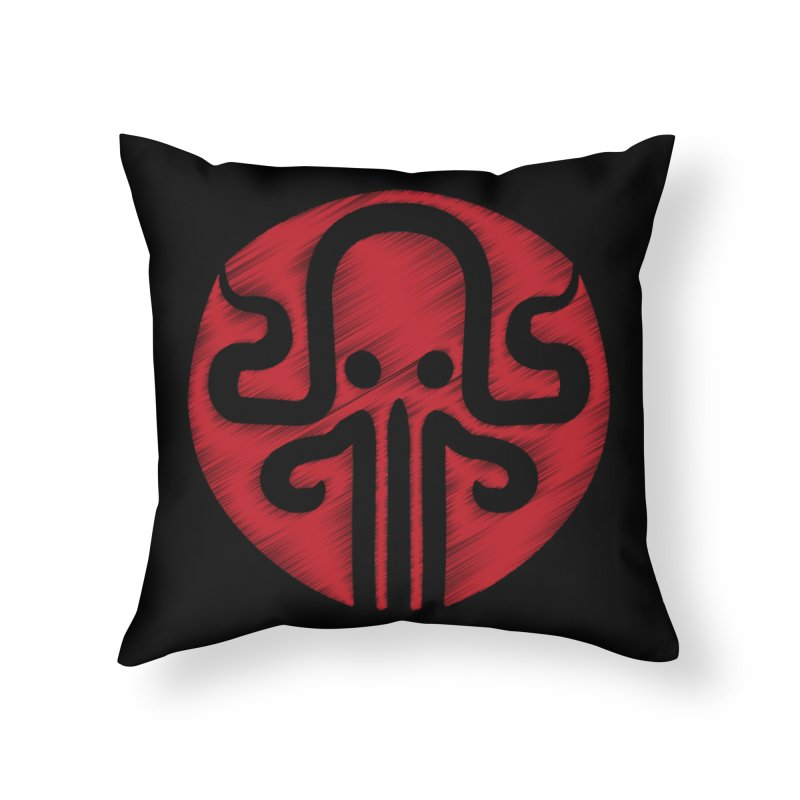 red kraken Home Throw Pillow by manuvila