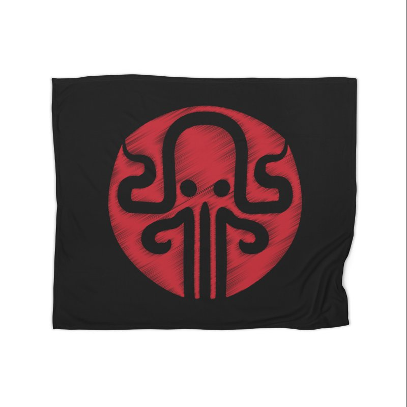 red kraken Home Fleece Blanket Blanket by manuvila