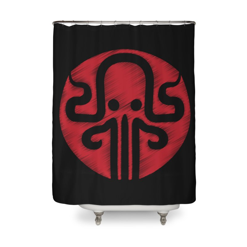 red kraken Home Shower Curtain by manuvila
