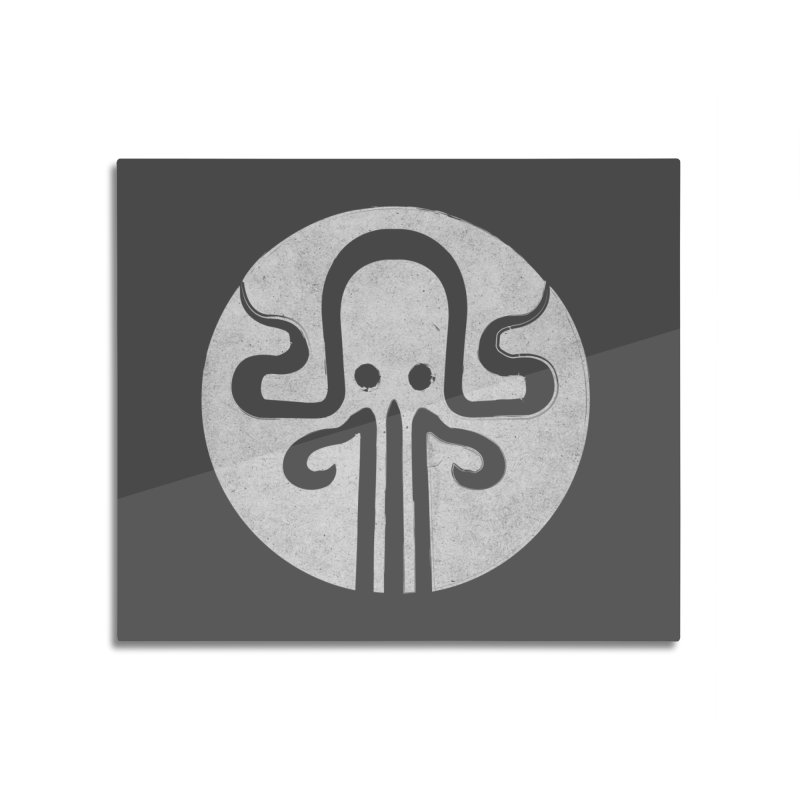 octopus gray logo Home Mounted Aluminum Print by manuvila