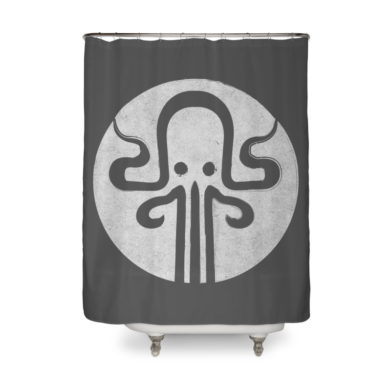 octopus gray logo Home Shower Curtain by manuvila
