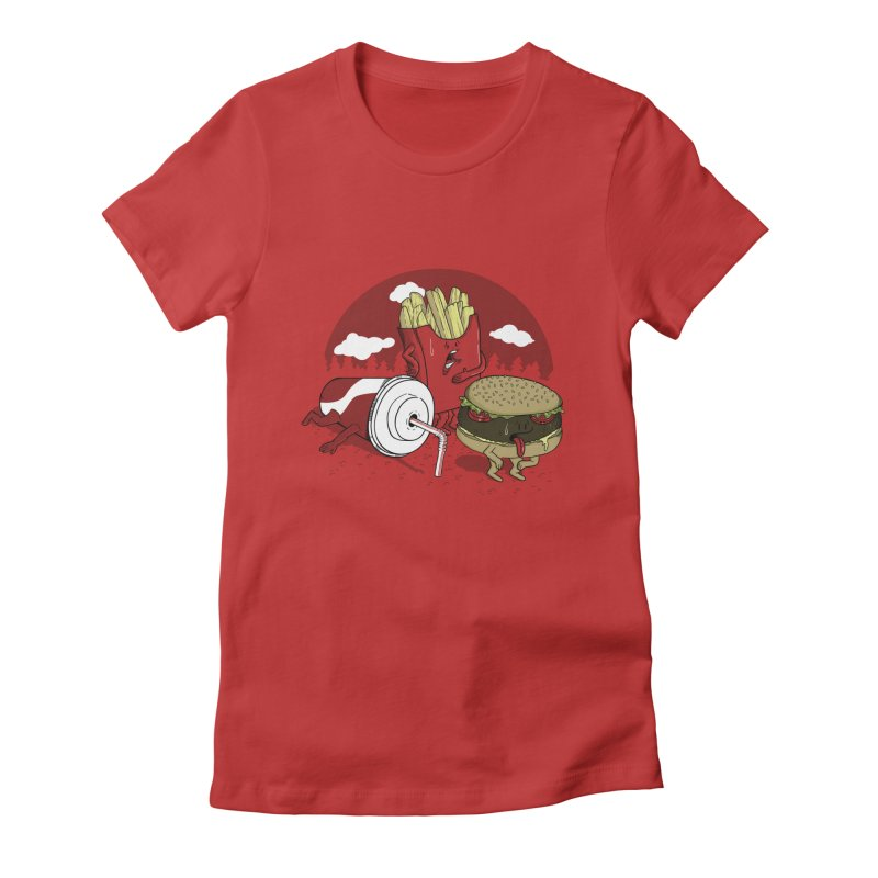 Not so fast food Women's Fitted T-Shirt by maortoubian's Artist Shop