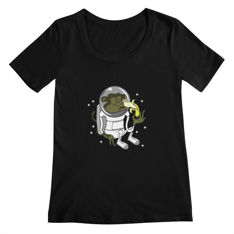 Cant eat banana in space :( Women's Scoopneck by maortoubian's Artist Shop