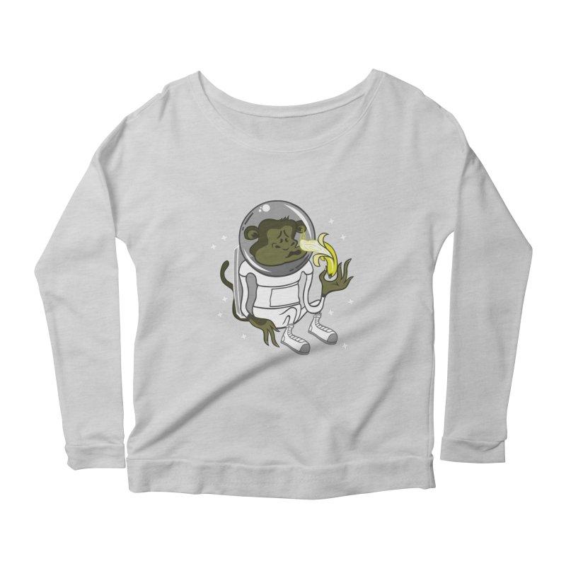 Cant eat banana in space :( Women's Longsleeve Scoopneck  by maortoubian's Artist Shop