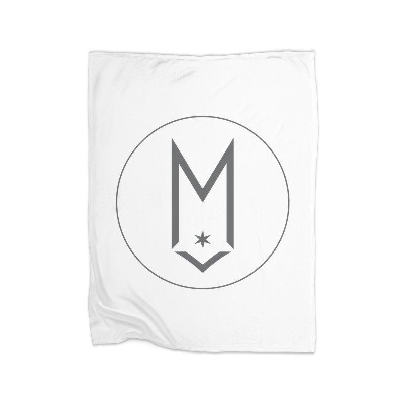 M Circle Gray Logo Home Fleece Blanket Blanket by Shop Maplewood Brewery & Distillery