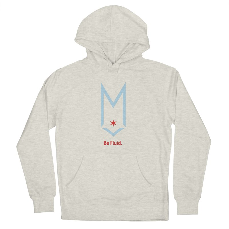Be Fluid - Chicago Logo in Men's French Terry Pullover Hoody Heather Oatmeal by Shop Maplewood Brewery & Distillery