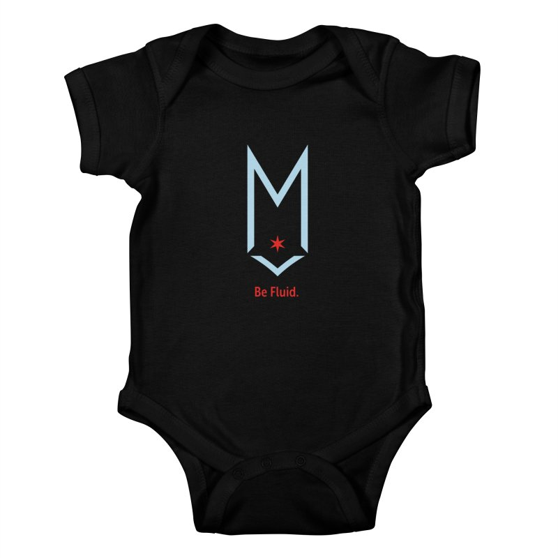 Be Fluid - Chicago Logo Kids Baby Bodysuit by Shop Maplewood Brewery & Distillery