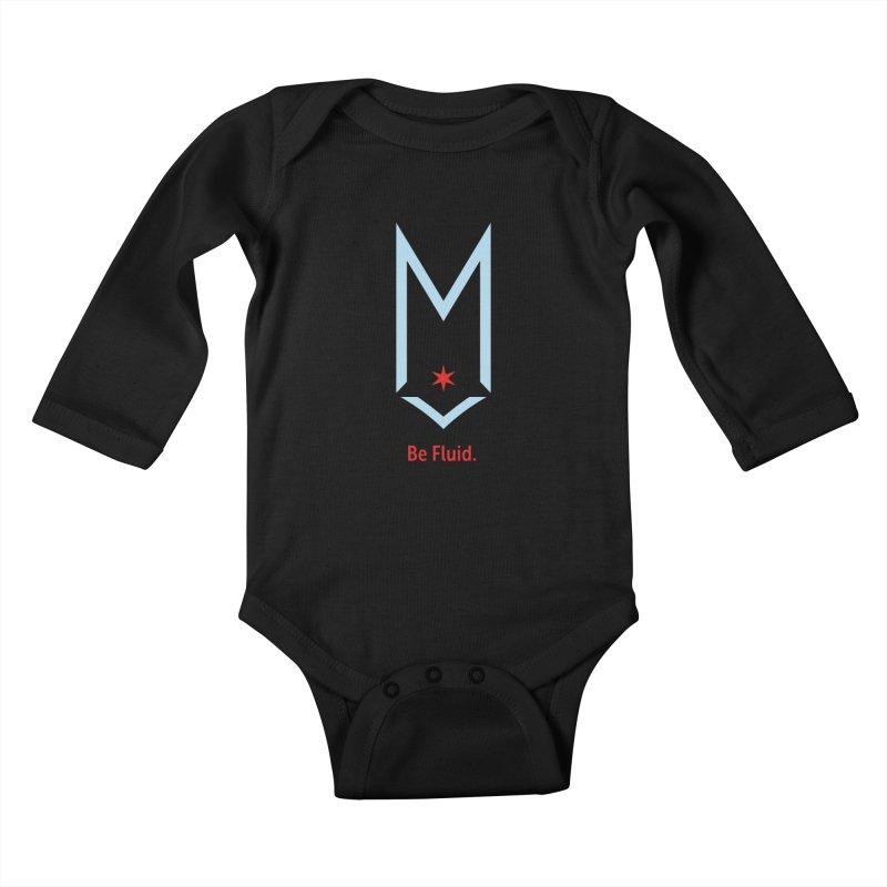 Be Fluid - Chicago Logo Kids Baby Longsleeve Bodysuit by Shop Maplewood Brewery & Distillery