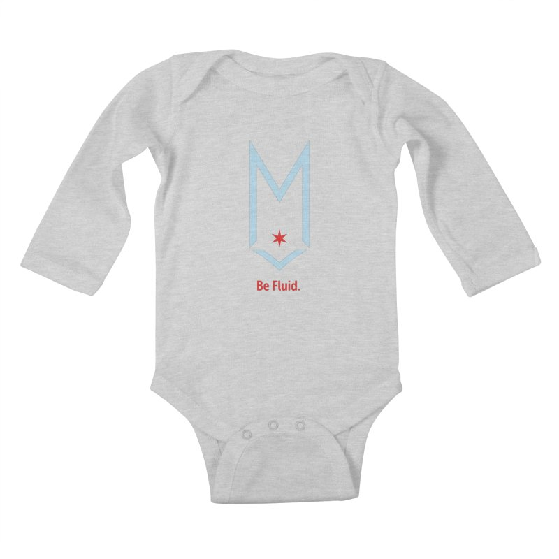 Be Fluid - Chicago Logo Kids Baby Longsleeve Bodysuit by Shop Maplewood Brewery & Distillery