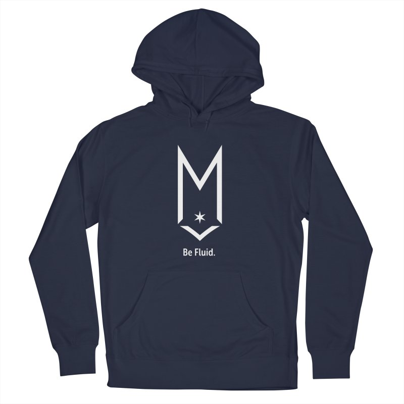 Be Fluid - White Logo Men's French Terry Pullover Hoody by Shop Maplewood Brewery & Distillery
