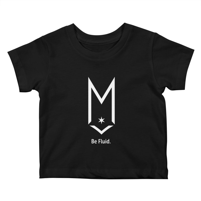 Be Fluid - White Logo Kids Baby T-Shirt by Shop Maplewood Brewery & Distillery