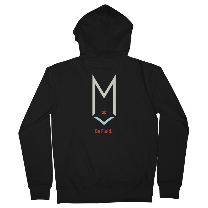 Be Fluid - Off White Logo Men's French Terry Zip-Up Hoody by Shop Maplewood Brewery & Distillery