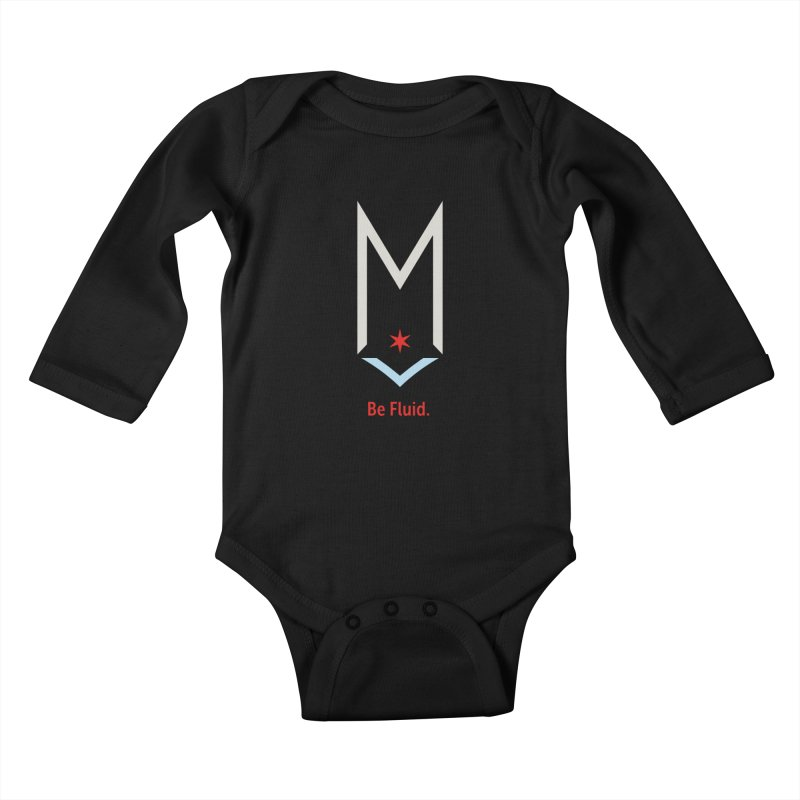Be Fluid - Off White Logo Kids Baby Longsleeve Bodysuit by Shop Maplewood Brewery & Distillery