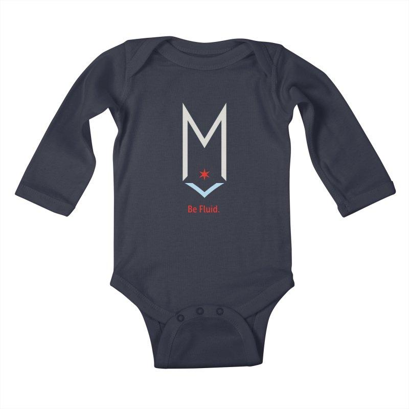 Be Fluid - Off White Logo Kids Baby Longsleeve Bodysuit by Shop Maplewood Brewery & Distillery