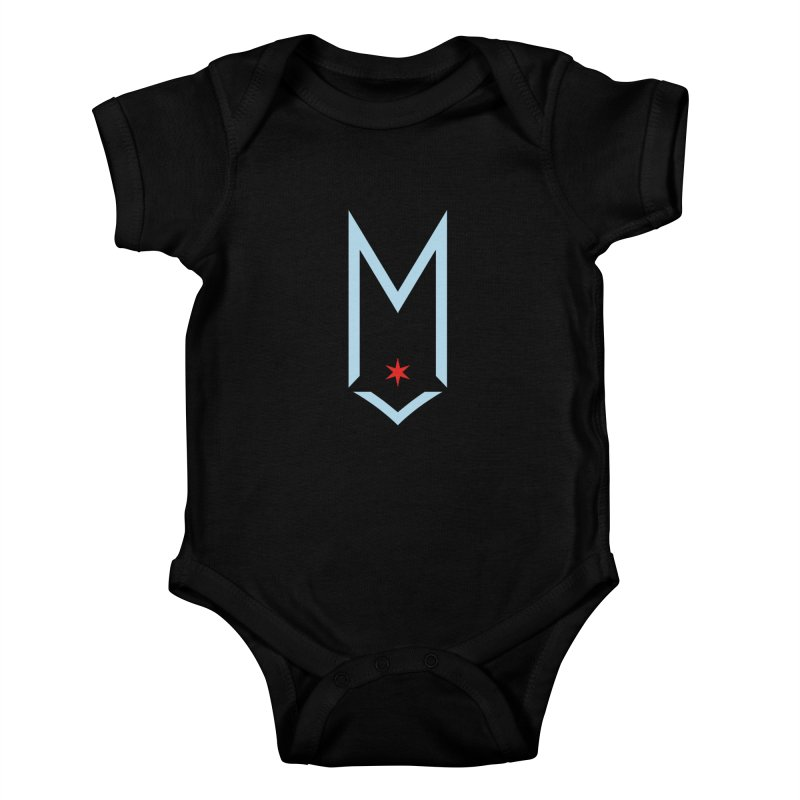 M - Chicago Logo Kids Baby Bodysuit by Shop Maplewood Brewery & Distillery