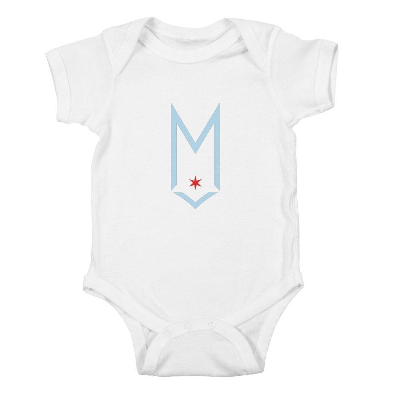 M - Chicago Logo Kids Baby Bodysuit by Shop Maplewood Brewery & Distillery