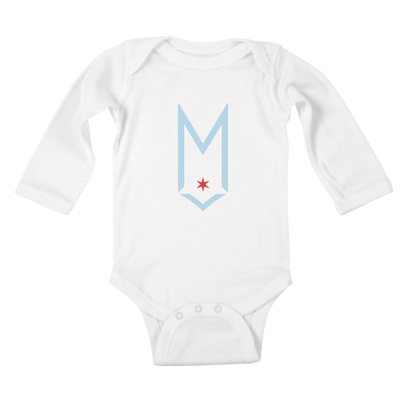 M - Chicago Logo Kids Baby Longsleeve Bodysuit by Shop Maplewood Brewery & Distillery
