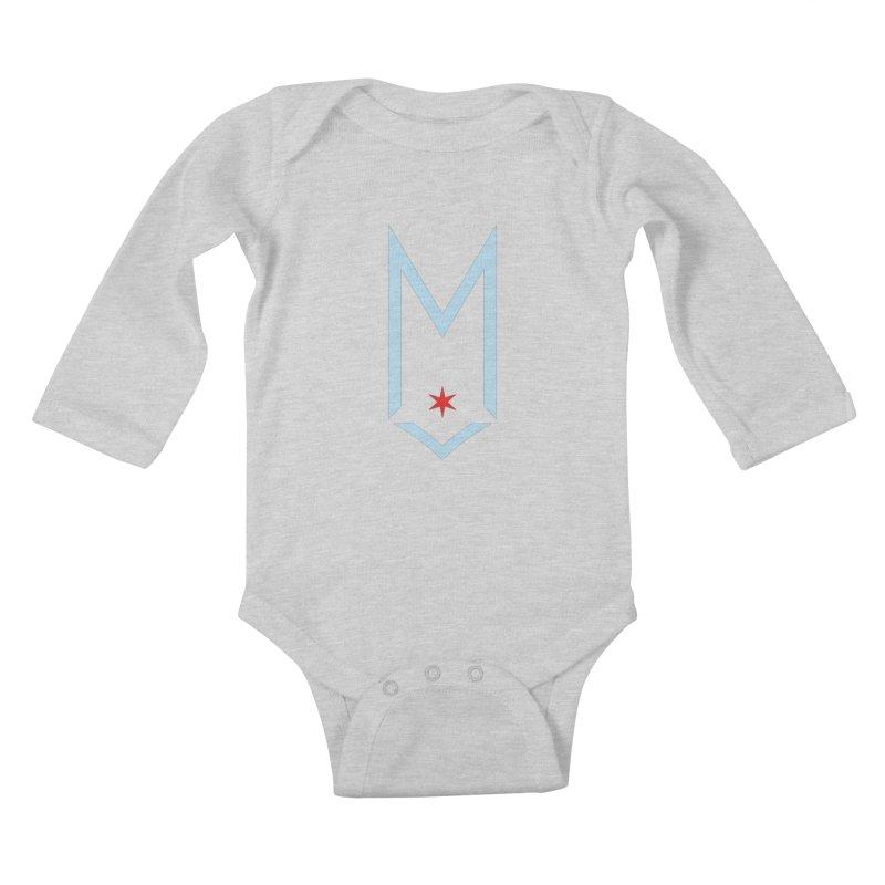 M - Chicago Logo Kids Baby Longsleeve Bodysuit by Shop Maplewood Brewery & Distillery
