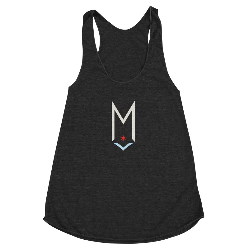 M - Off White Logo Women's Racerback Triblend Tank by Shop Maplewood Brewery & Distillery