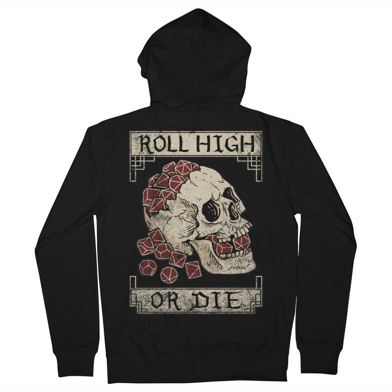 Roll High or Die (Skull and Die) Women's French Terry Zip-Up Hoody by maratusfunk's Shop