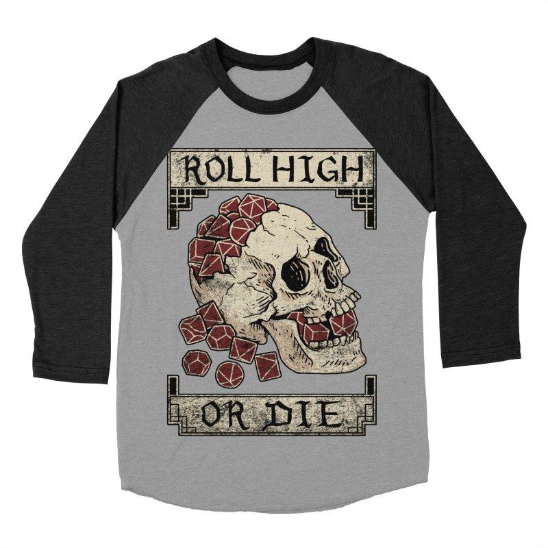 Roll High or Die (Skull and Die) Men's Baseball Triblend Longsleeve T-Shirt by maratusfunk's Shop