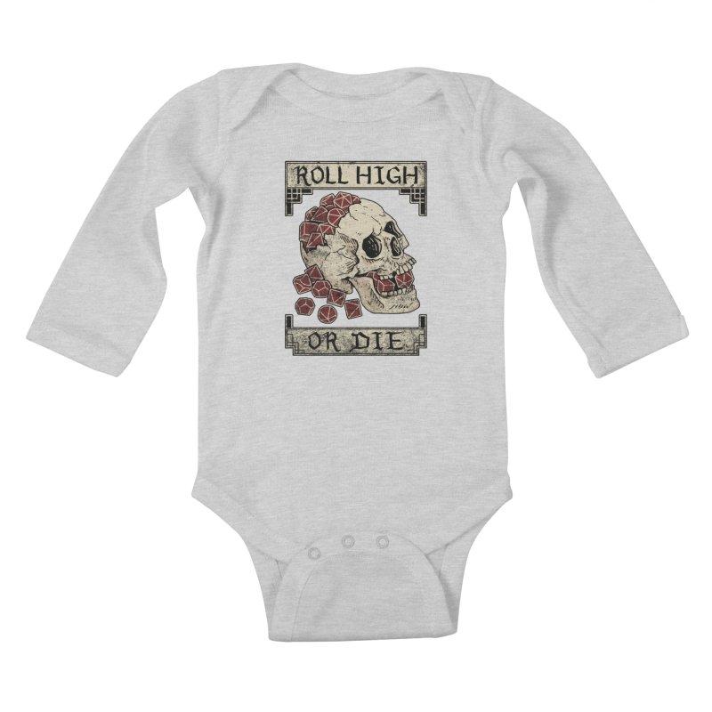 Roll High or Die (Skull and Die) Kids Baby Longsleeve Bodysuit by maratusfunk's Shop