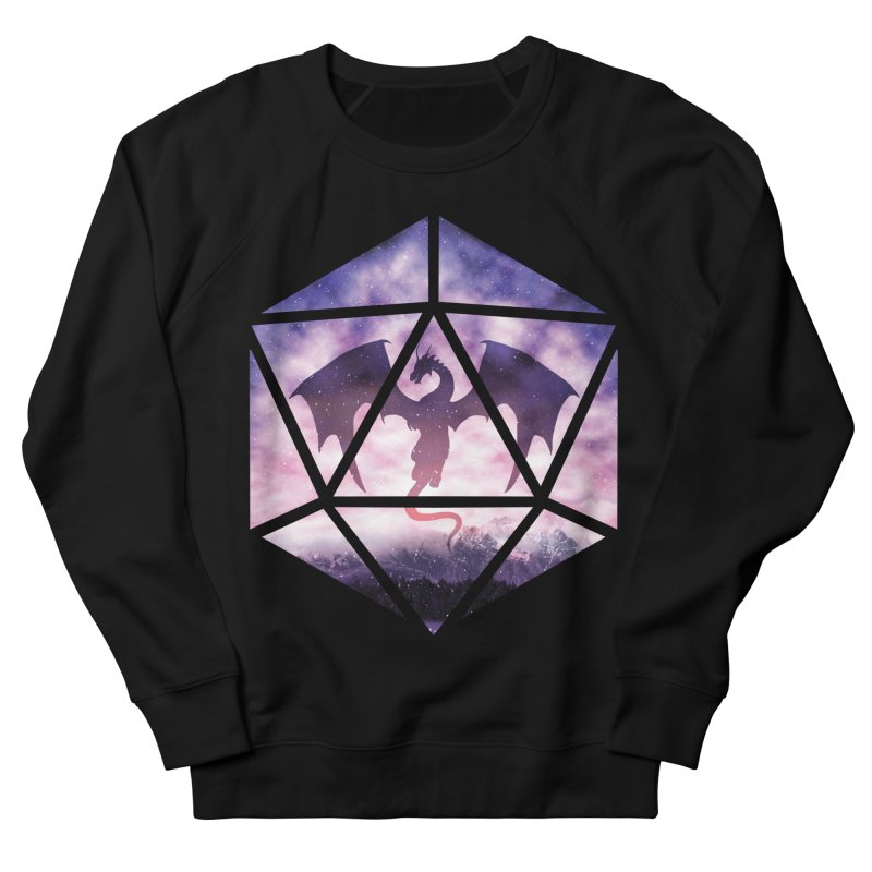 Purple Sky Dragon D20 Men's French Terry Sweatshirt by maratusfunk's Shop