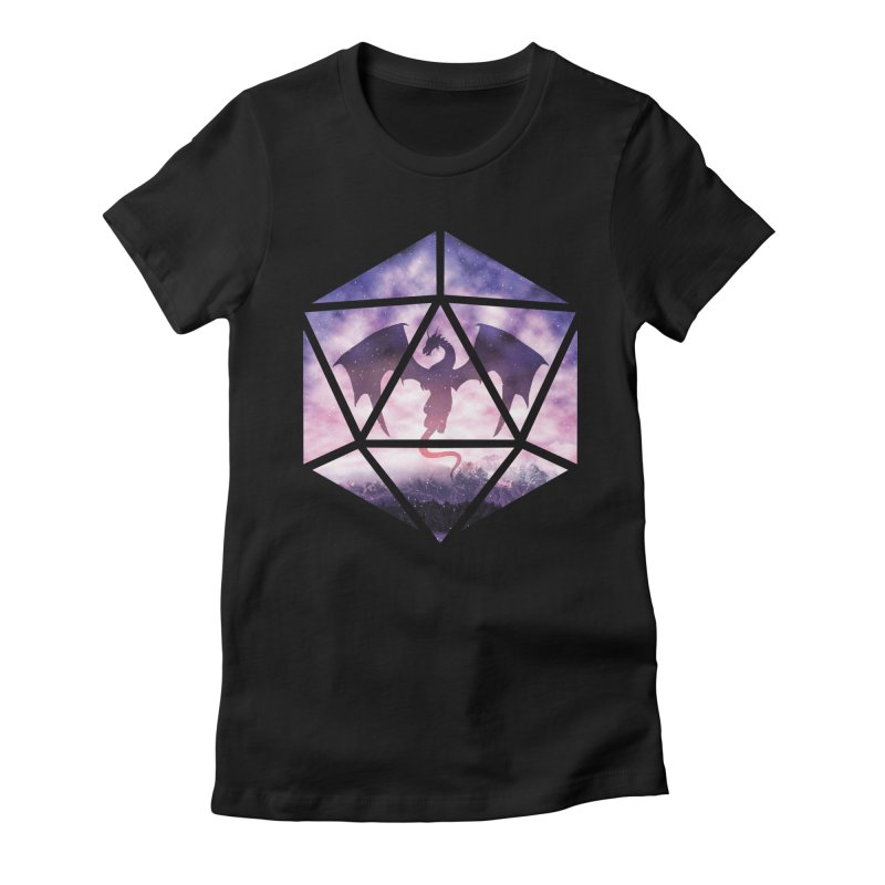 Purple Sky Dragon D20 Women's Fitted T-Shirt by maratusfunk's Shop