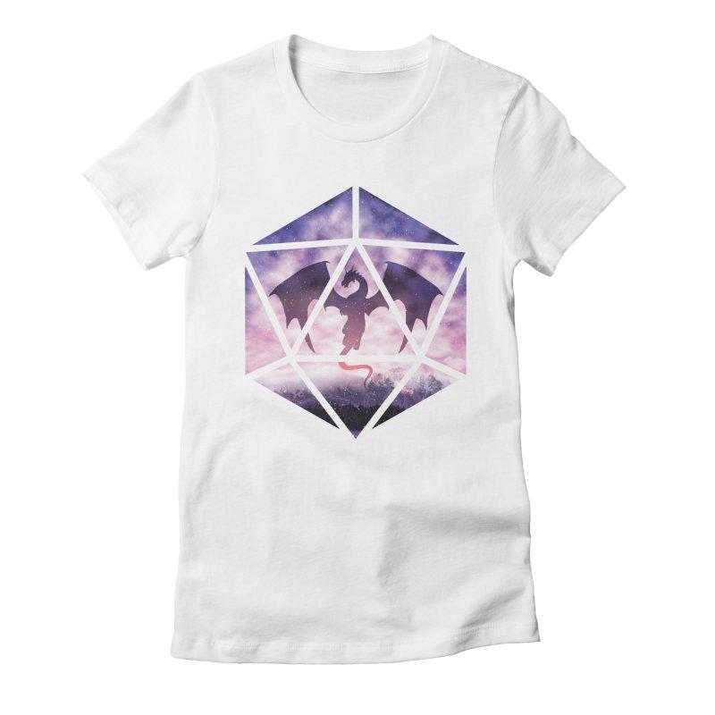 Purple Sky Dragon D20 Women's Fitted T-Shirt by maratusfunk's Shop