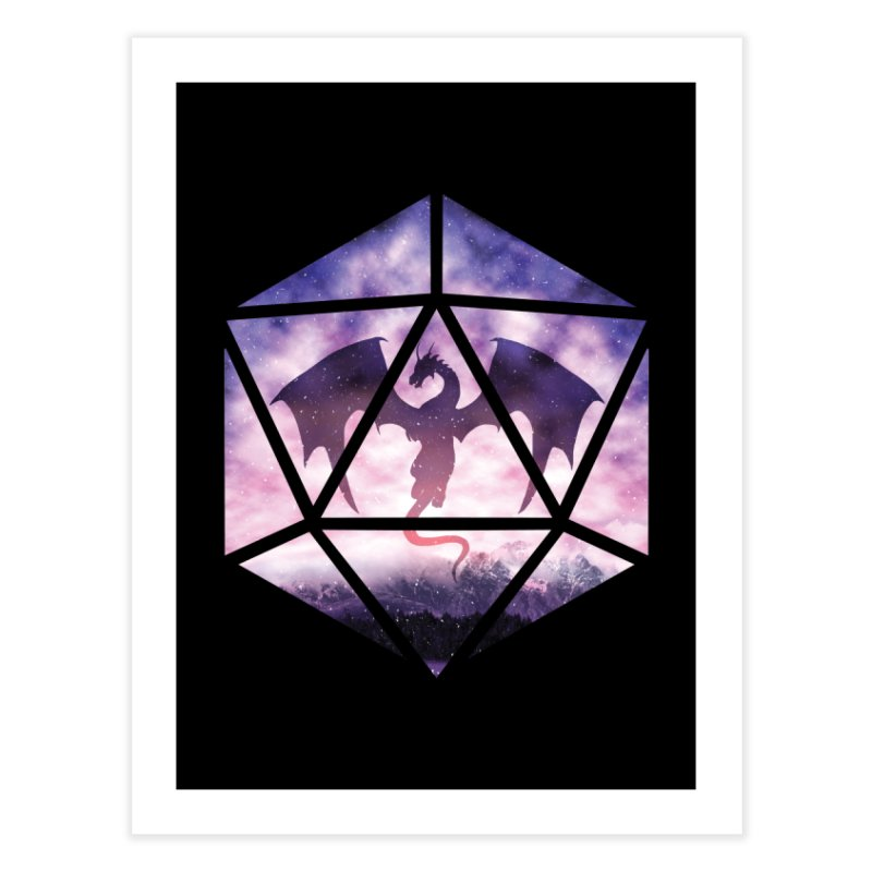 Purple Sky Dragon D20 Home Fine Art Print by maratusfunk's Shop