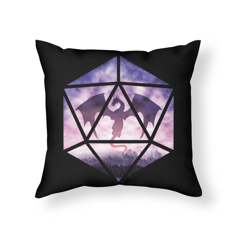 Purple Sky Dragon D20 Home Throw Pillow by maratusfunk's Shop