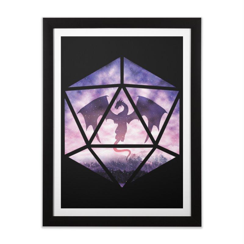 Purple Sky Dragon D20 Home Framed Fine Art Print by maratusfunk's Shop