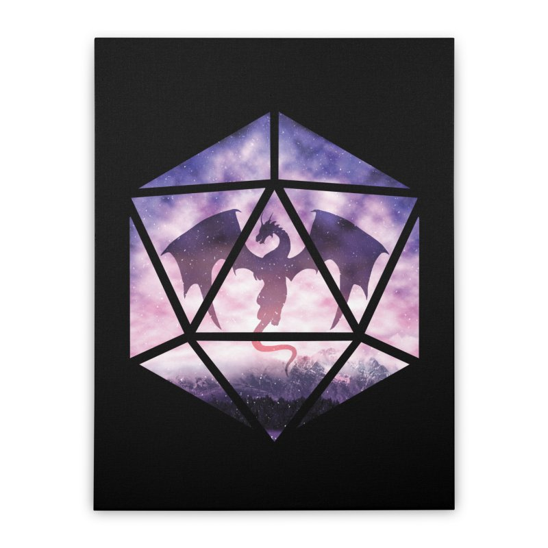 Purple Sky Dragon D20 Home Stretched Canvas by maratusfunk's Shop