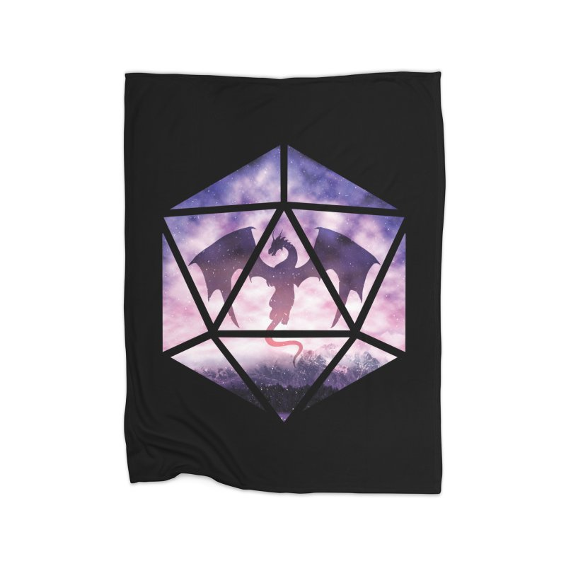 Purple Sky Dragon D20 Home Fleece Blanket Blanket by maratusfunk's Shop